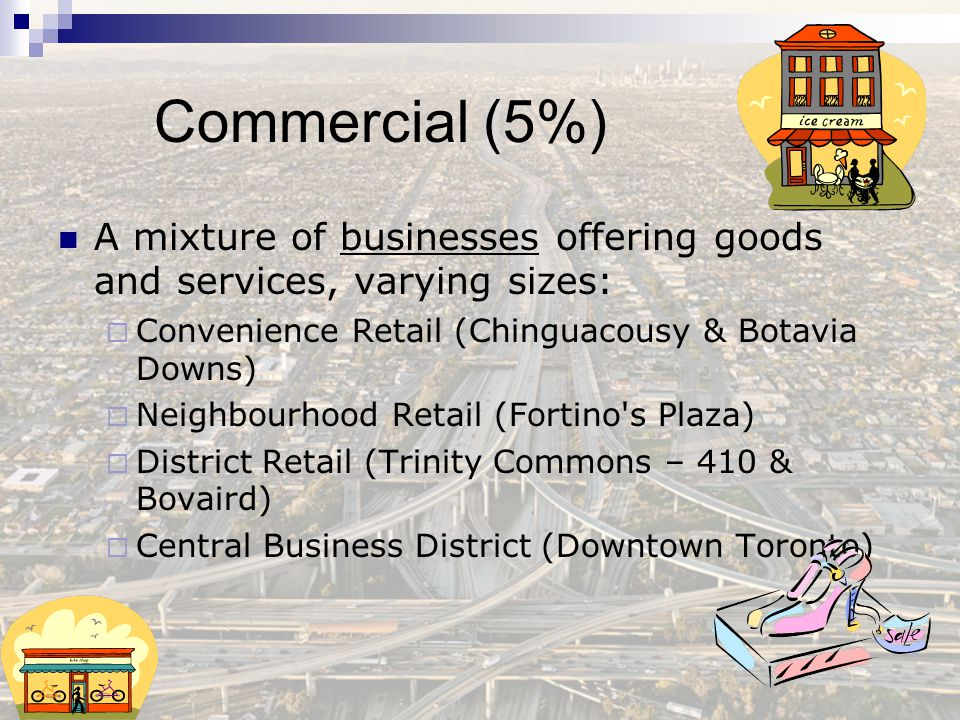 Commercial (5%) A mixture of businesses offering goods and services, varying sizes: Convenience Retail (Chinguacousy & Botavia Downs)