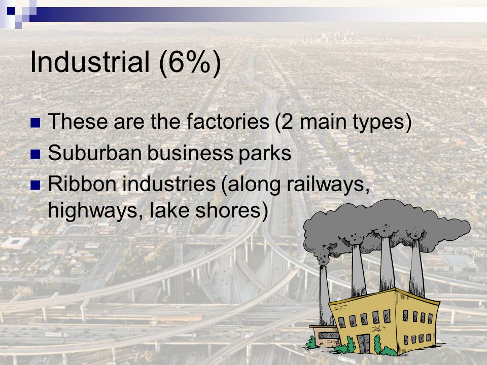Industrial (6%) These are the factories (2 main types)
