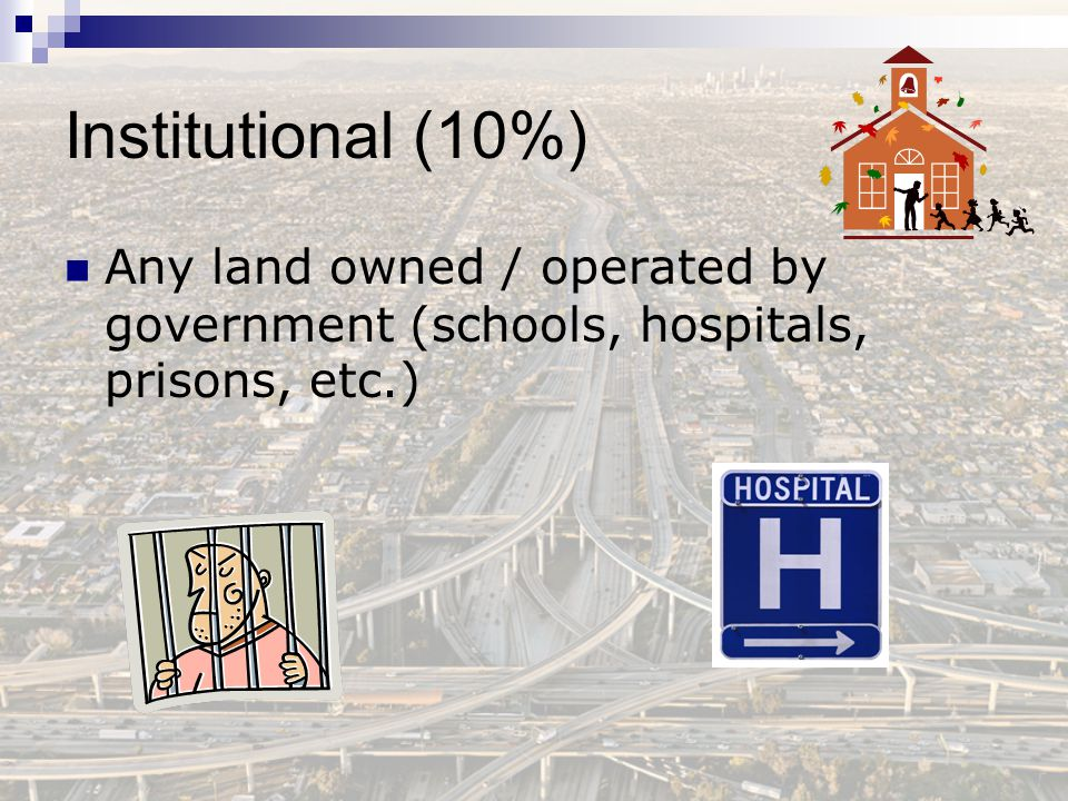 Institutional (10%) Any land owned / operated by government (schools, hospitals, prisons, etc.)