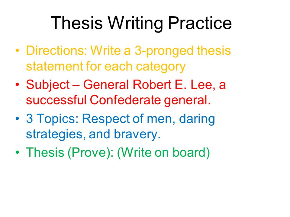 essay practice statement thesis writing Practice exercises for writing #2: thesis statements skill practiced: correct thesis formation after dissecting your essay prompt, the next step is to formulate an effective thesis statement.