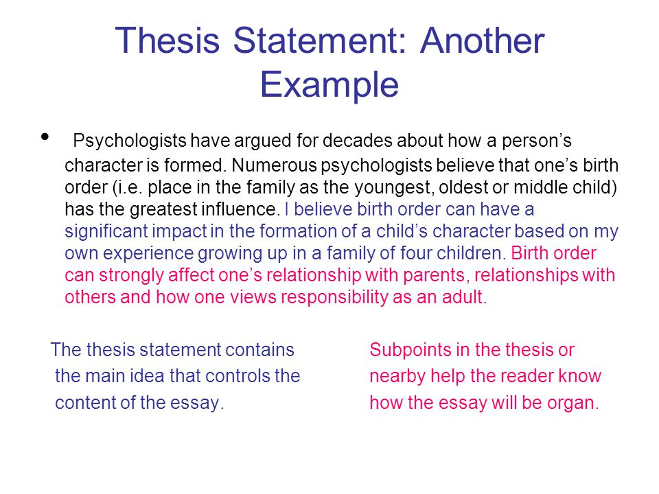 the thesis statement a road map for your essay Thesis statements a thesis statement is the main point you express, explain, or try to prove in your paper it should: clearly communicate your essay's main idea: act as a road map to your essay for your readers include the specific message.