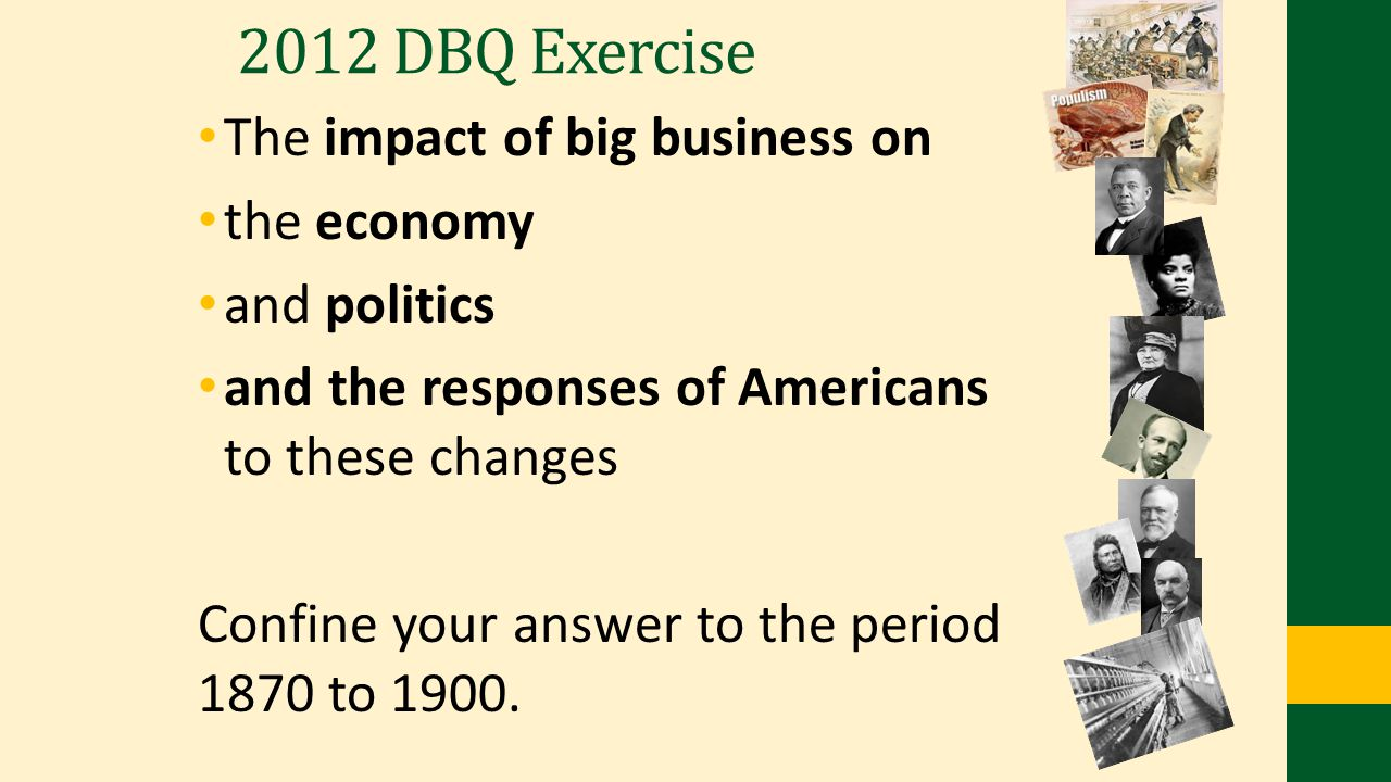 2012 DBQ Exercise The impact of big business on the economy
