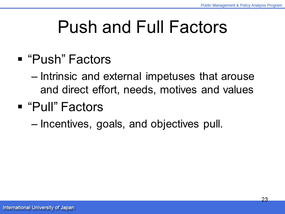 motivation push and pull factor Understanding the travel motivation among youth travelers  the sign–gestalt paradigm better known as the 'push-pull' factor' compendium theory was first.