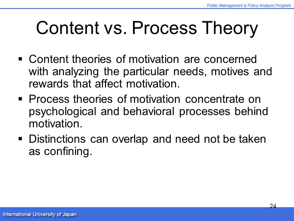 process abd content based theories of motivation Process theories of motivation are not enough you need a clear distinction between process and content for effective management and leadership.