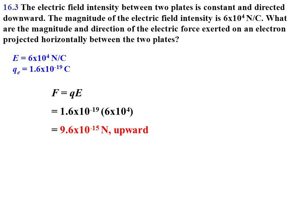 F = qE = 1.6x10-19 (6x104) = 9.6x10-15 N, upward
