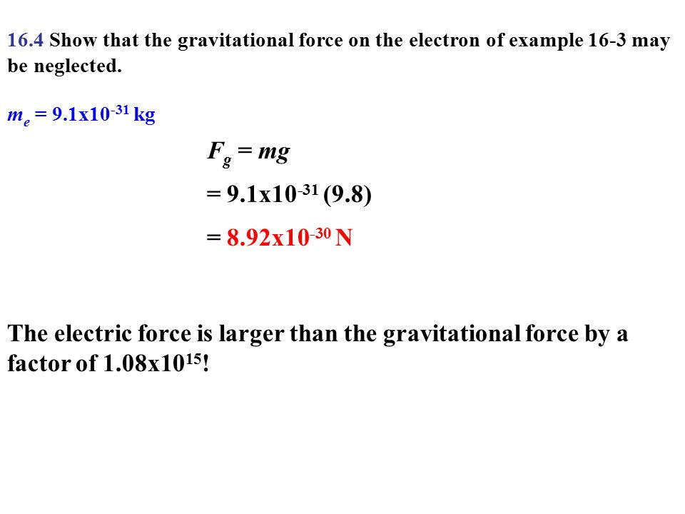 16.4 Show that the gravitational force on the electron of example 16-3 may be neglected.