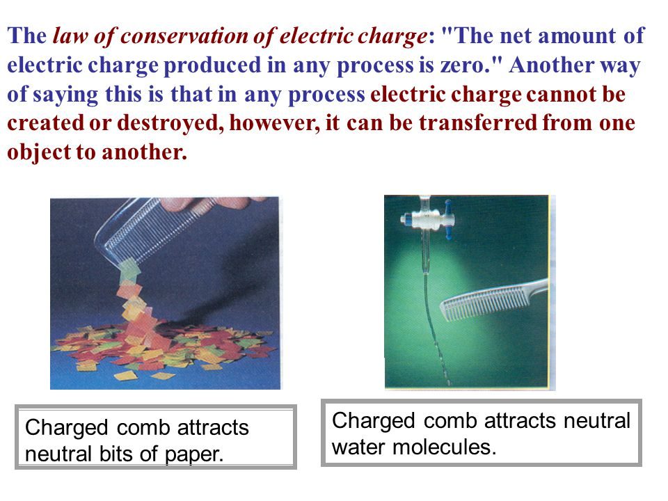 The law of conservation of electric charge: The net amount of electric charge produced in any process is zero. Another way of saying this is that in any process electric charge cannot be created or destroyed, however, it can be transferred from one object to another.