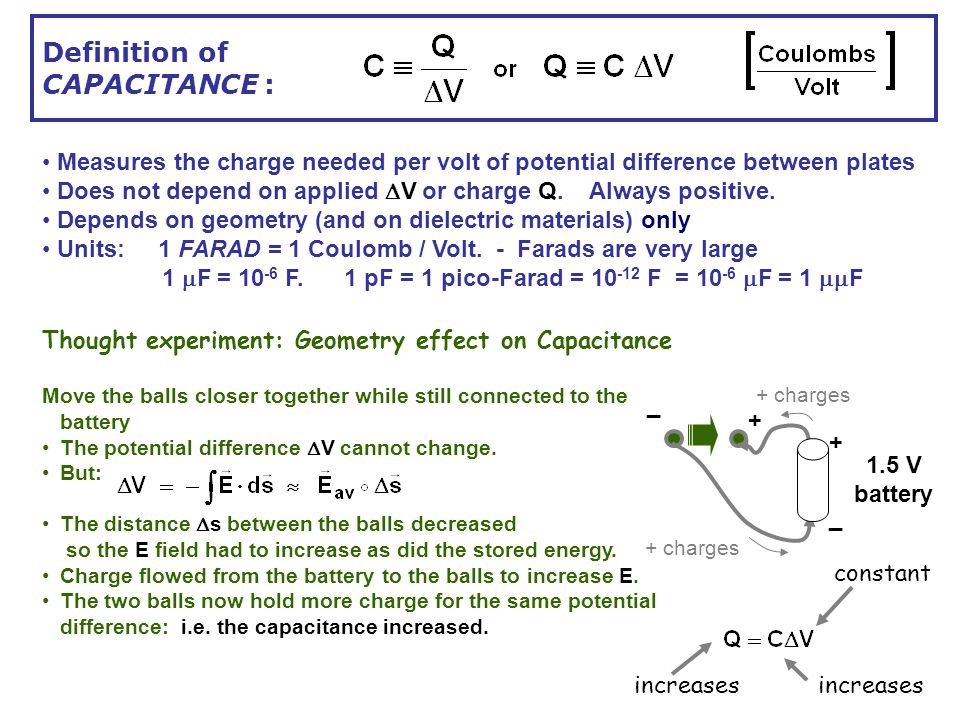 Overview Definition Of Capacitance Calculating The