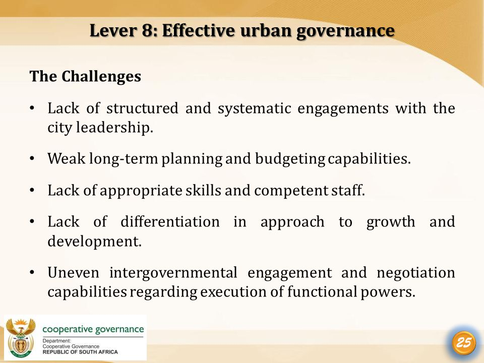 efficient urban governance index Urban governance index) to a new locally-developed governance  political  environment for institutional efficiency (through subsidiarity and effective.