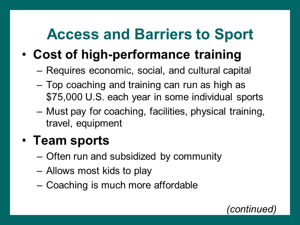 Access and Barriers to Sport