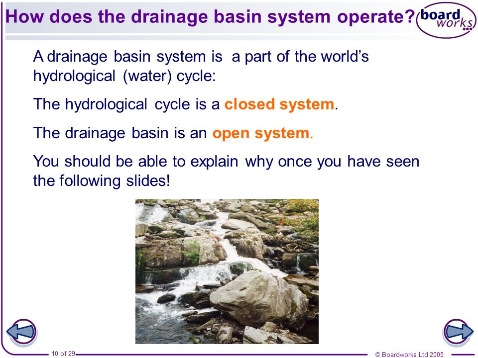 How does the drainage basin system operate