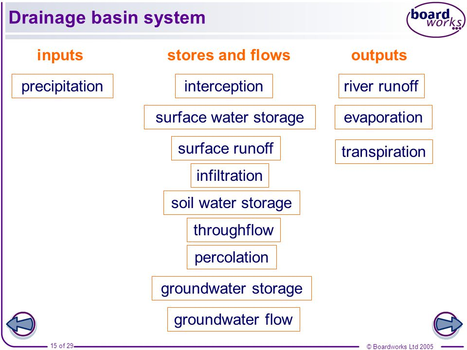 Drainage basin system inputs precipitation stores and flows
