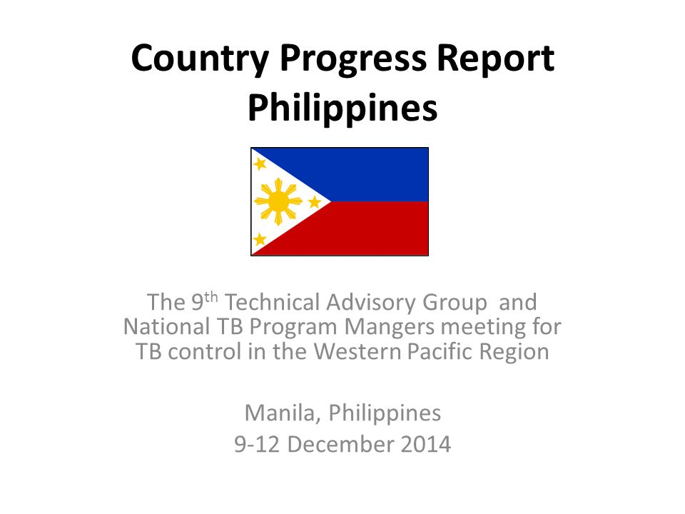 Country Progress Report Philippines