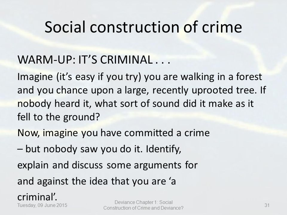 social construction of crime and deviance Description this course offers an advanced examination of the processes involved in the social construction of crime and deviance from the perspectives of .