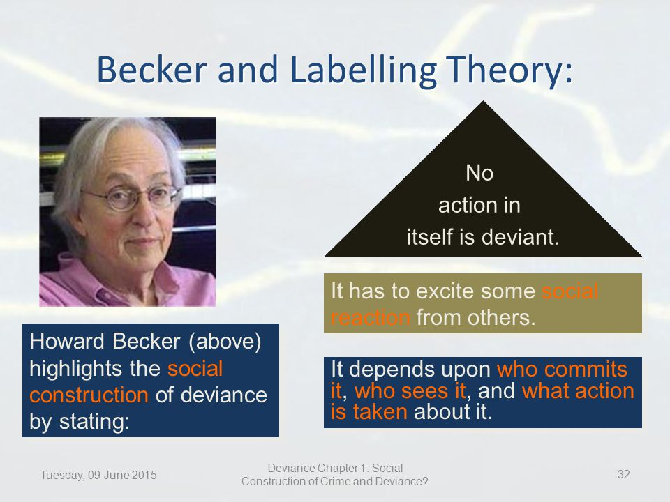labelling theory and deviance There are two additional ideas related to the labeling theory approach to understanding deviance first, once a deviant identity is adopted, it is often the case that the past behaviors of the now deviant individual are re-interpreted in light of the new identity.