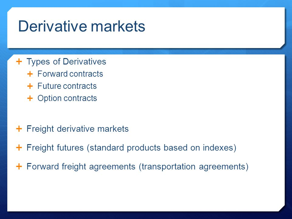 contracts derivatives One popular variety of derivatives used for hedging are called futures   however, futures contracts, once they exist, can also be bought and sold in their  own.