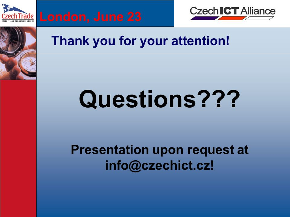 Presentation upon request at info@czechict.cz!