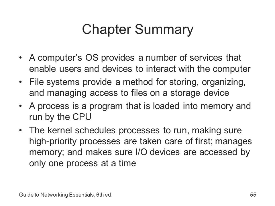 summary of a computer network and