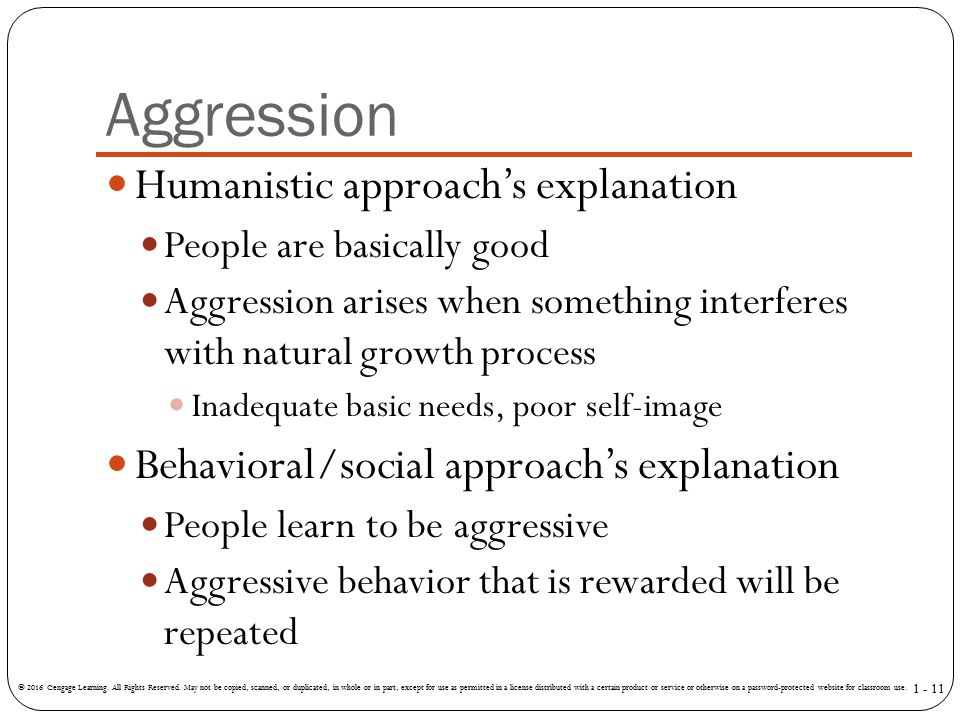 Aggression Humanistic approach's explanation