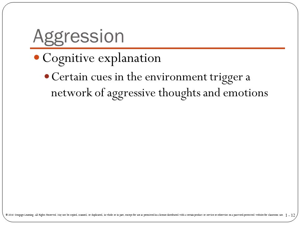 Aggression Cognitive explanation