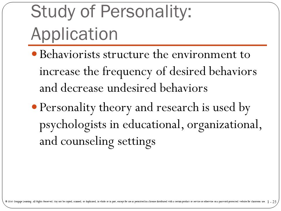 Study of Personality: Application