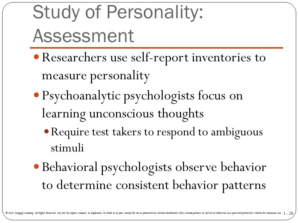 Study of Personality: Assessment