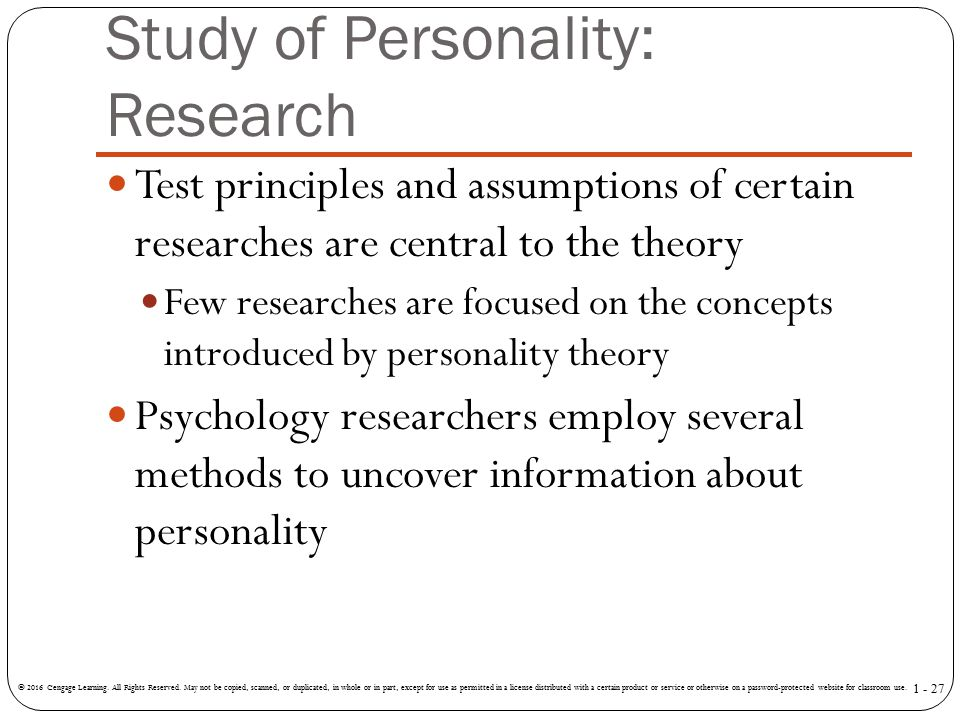 Study of Personality: Research