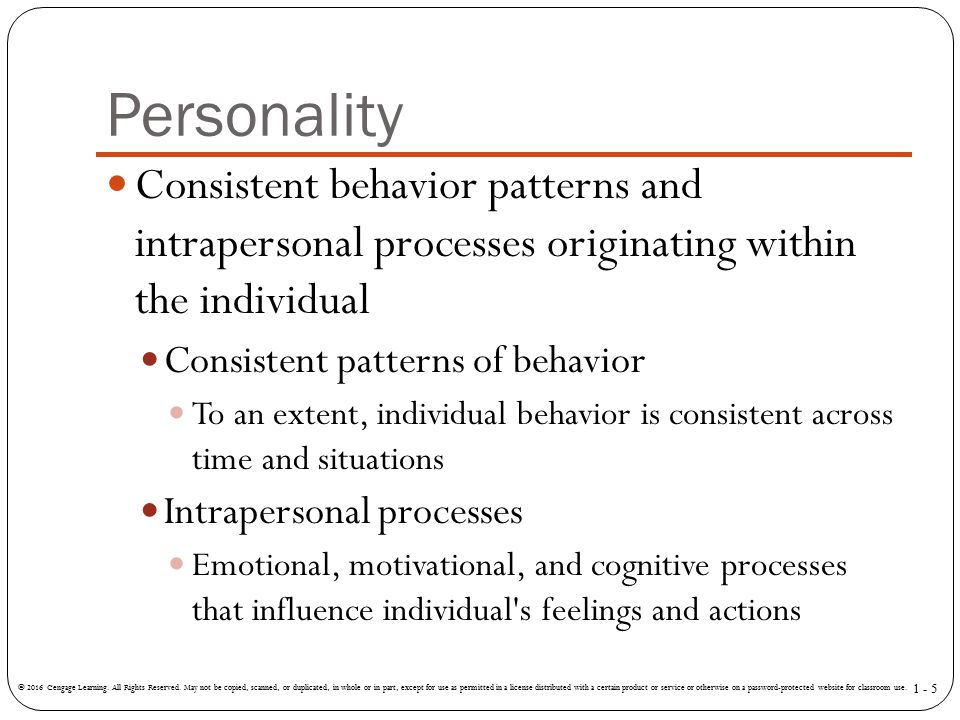 Personality Consistent behavior patterns and intrapersonal processes originating within the individual.