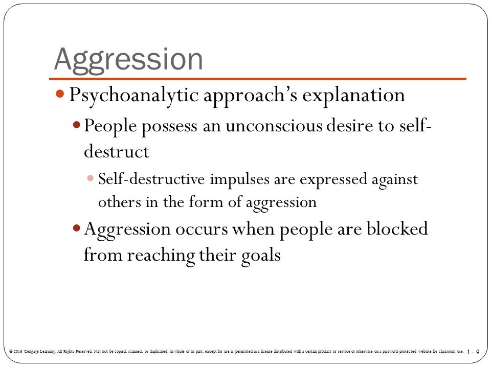 Aggression Psychoanalytic approach's explanation