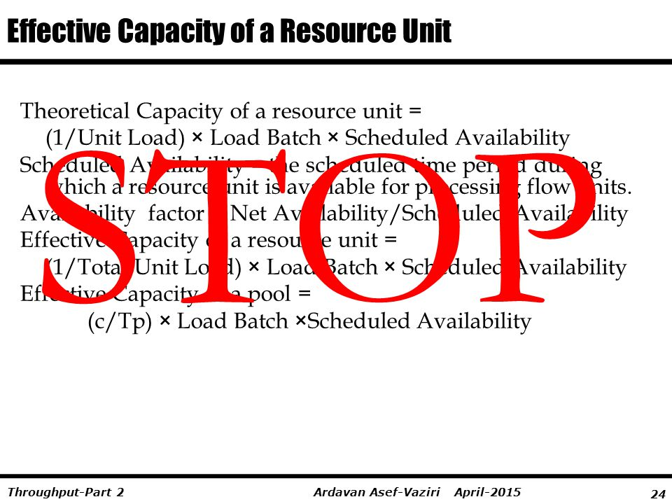 Effective Capacity of a Resource Unit