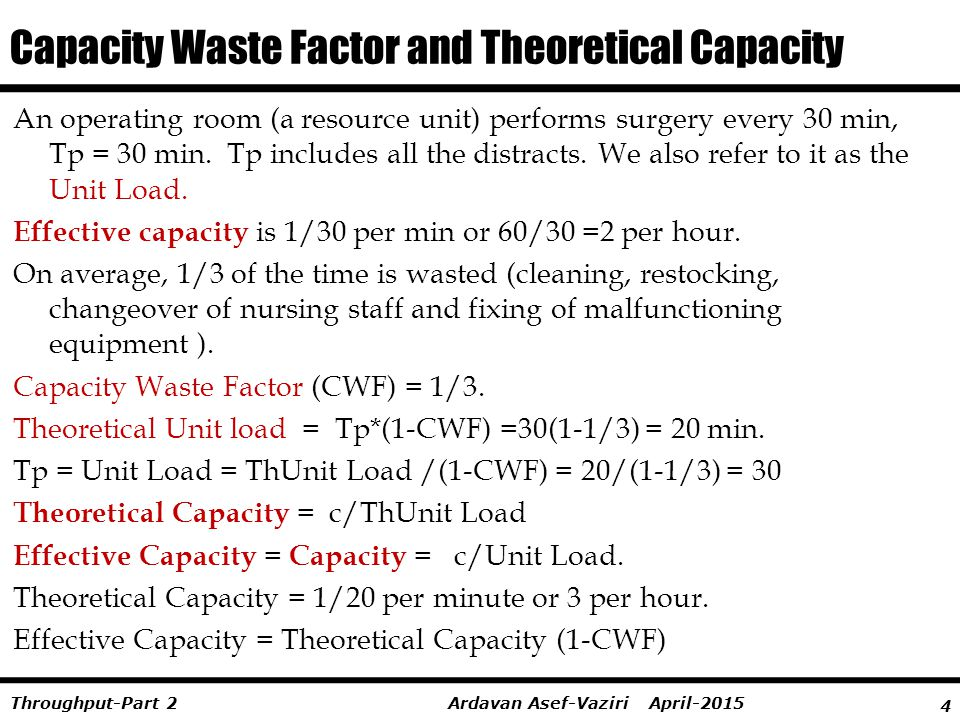 Capacity Waste Factor and Theoretical Capacity