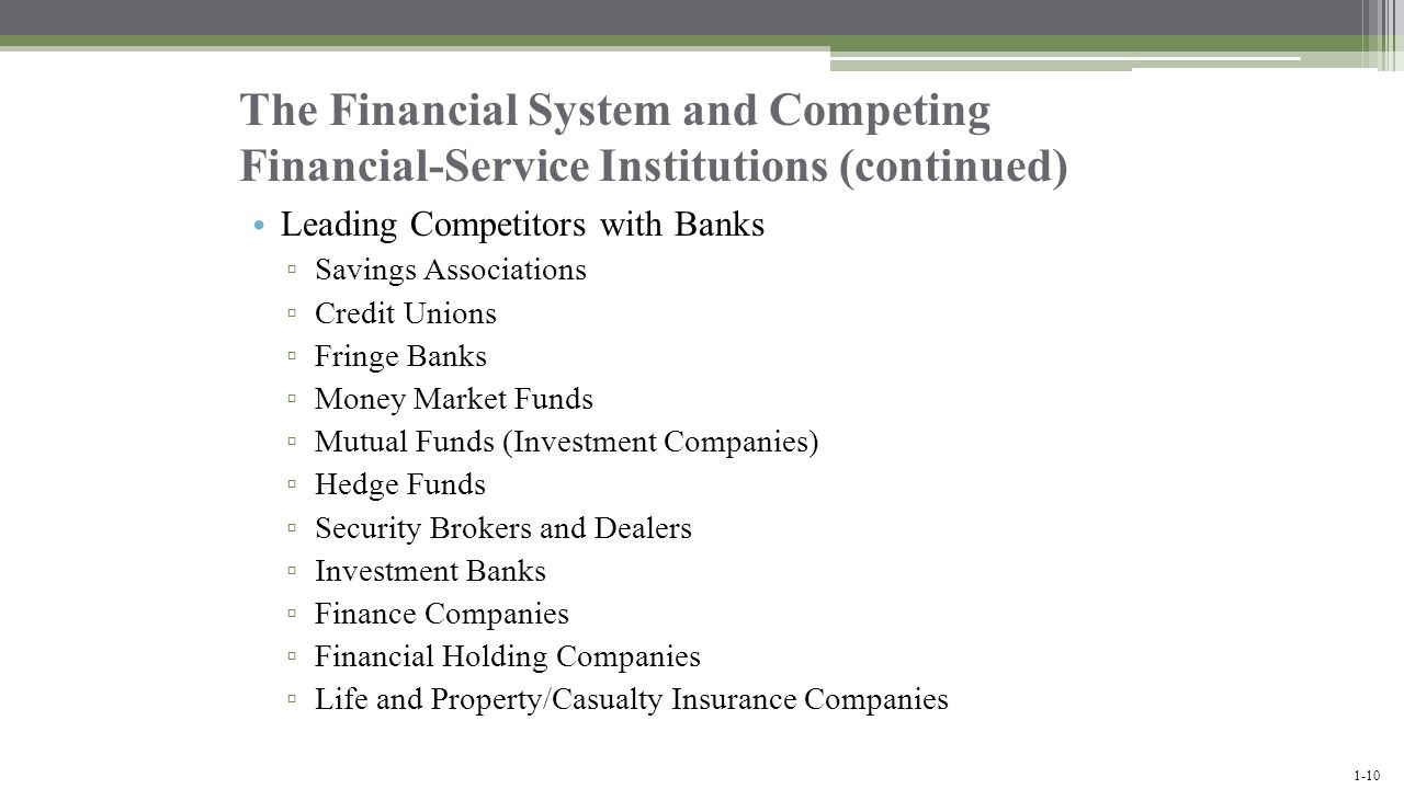 The Financial System and Competing Financial-Service Institutions (continued)