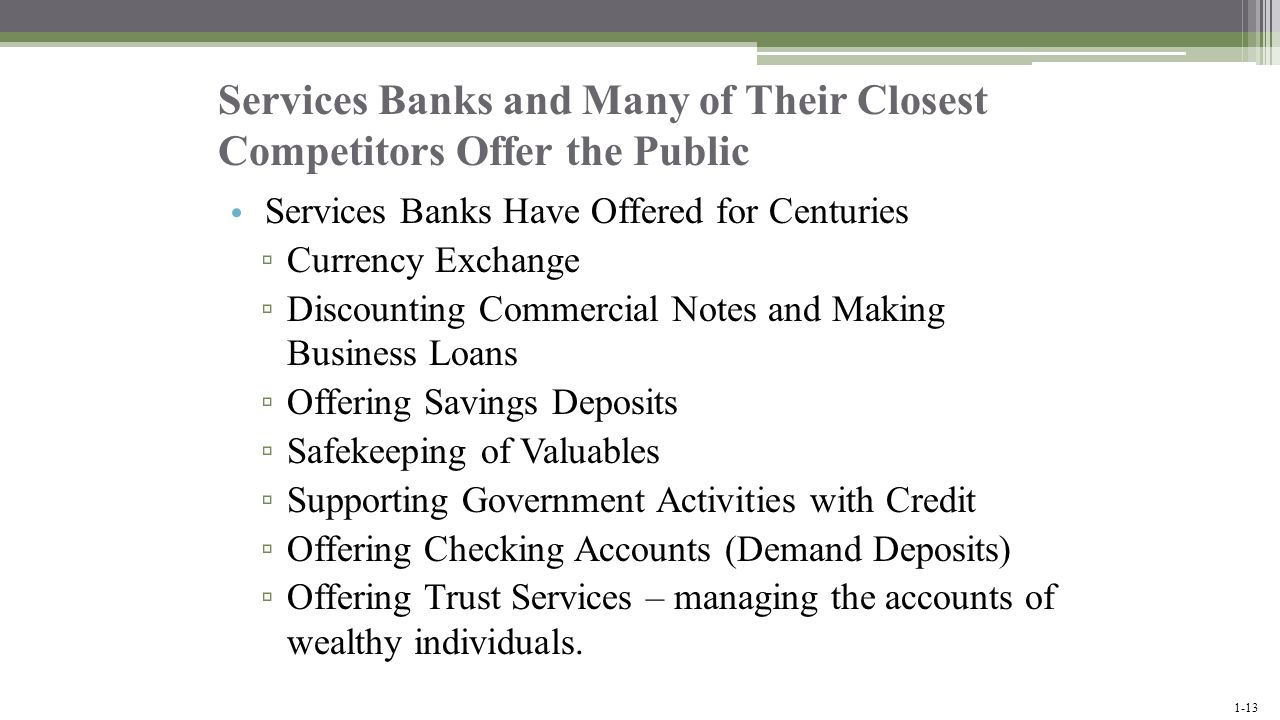 Services Banks and Many of Their Closest Competitors Offer the Public