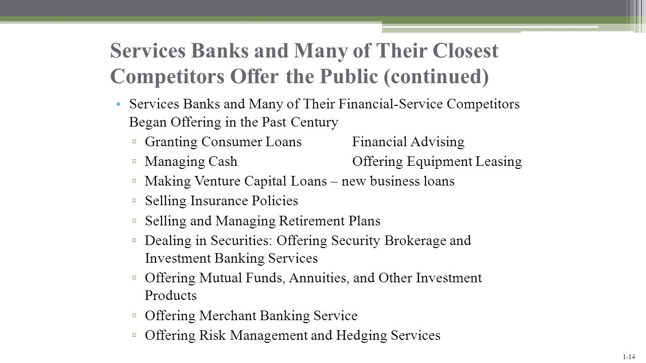 Services Banks and Many of Their Closest Competitors Offer the Public (continued)