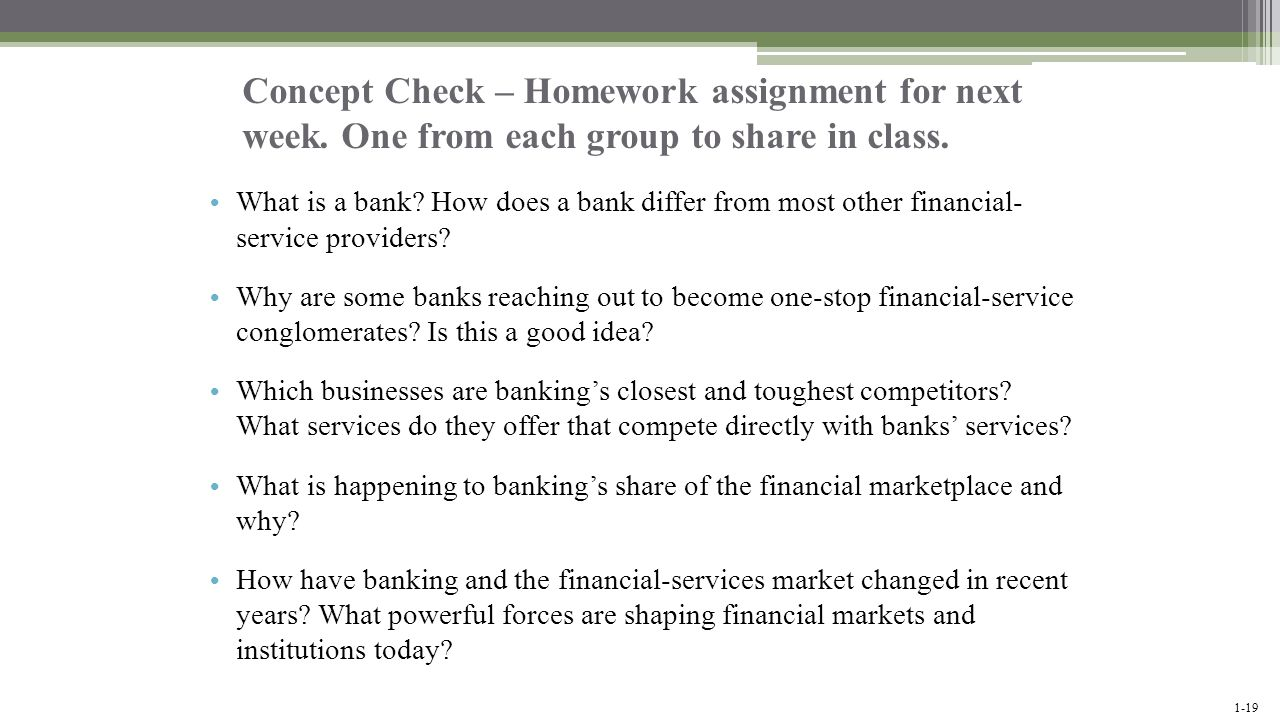 Concept Check – Homework assignment for next week
