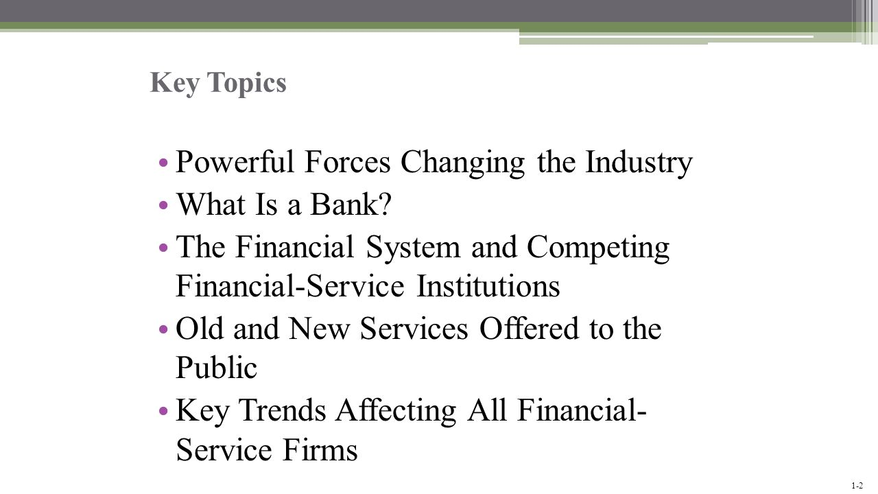 Powerful Forces Changing the Industry What Is a Bank