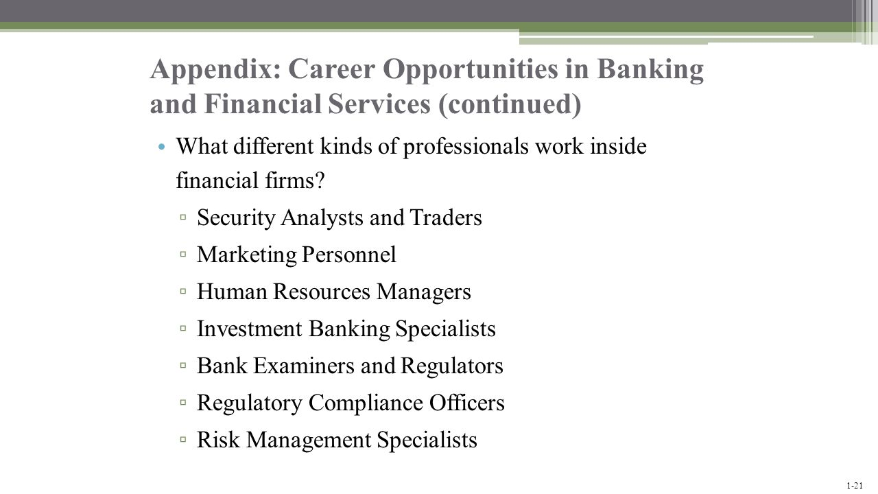 Appendix: Career Opportunities in Banking and Financial Services (continued)
