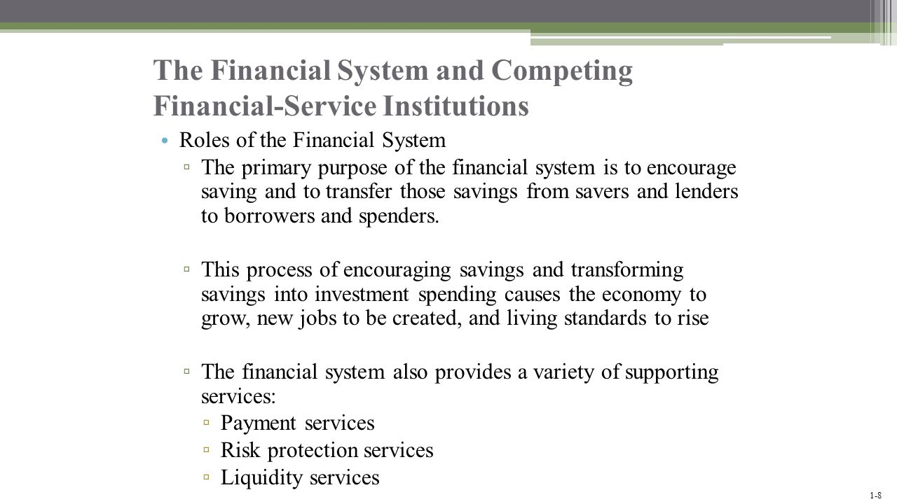 The Financial System and Competing Financial-Service Institutions