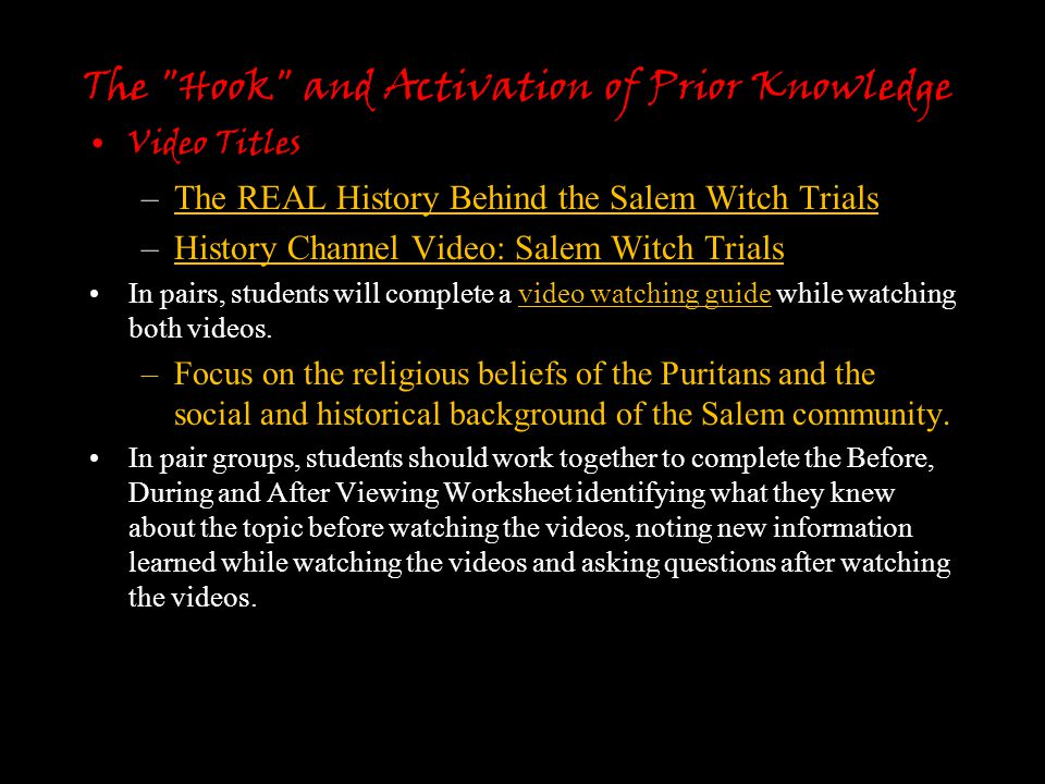 """salem witch trials v the mccarthy Salem witch trials and mccarthyism web quest 1 answer the following questions using the websites listed below 2 to search the websites press """"command"""" and then """"f."""