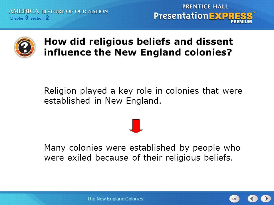 how did the puritans influence new england colonies The puritans wanted to purify the church of england they did not want by 1636 four new england colonies were founded: connecticut, massachusetts.