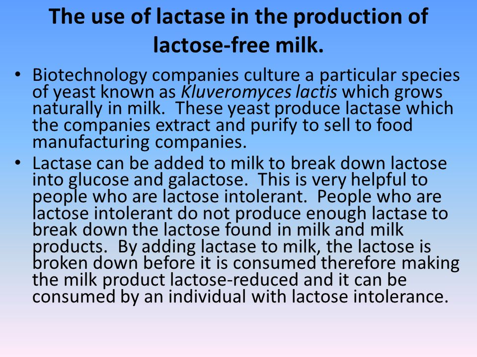The use of lactase in the production of lactose-free milk.