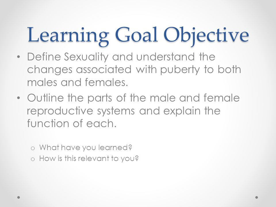 Learning Goal Objective