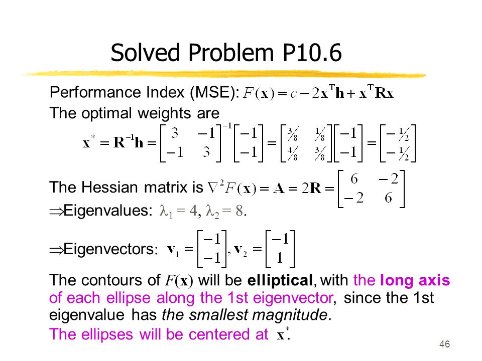 Solved Problem P10.6 Performance Index (MSE): The optimal weights are