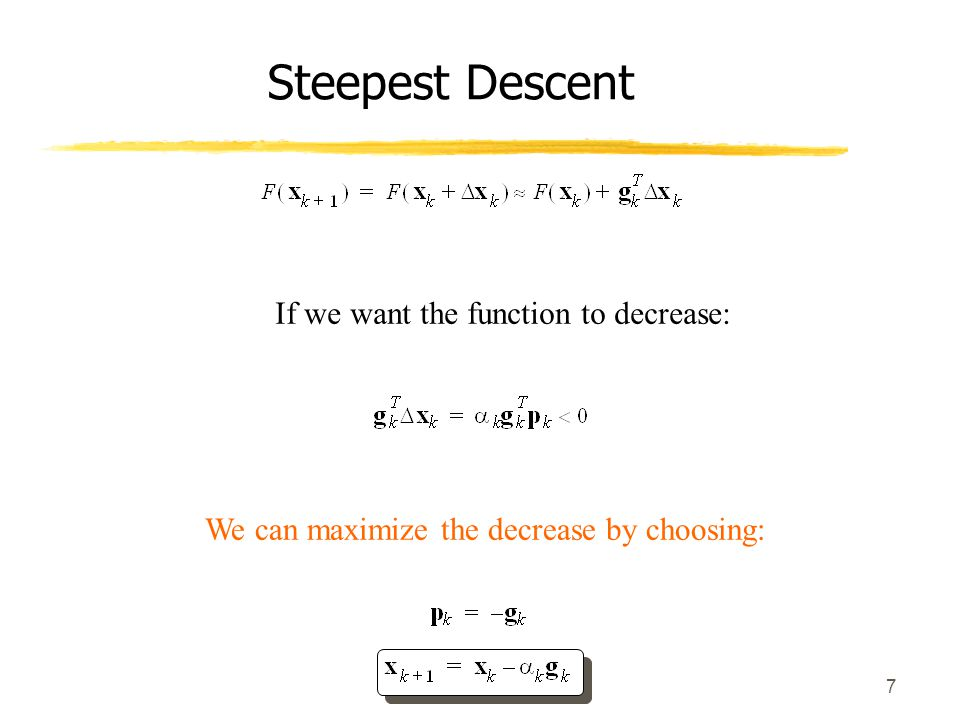 Steepest Descent If we want the function to decrease: