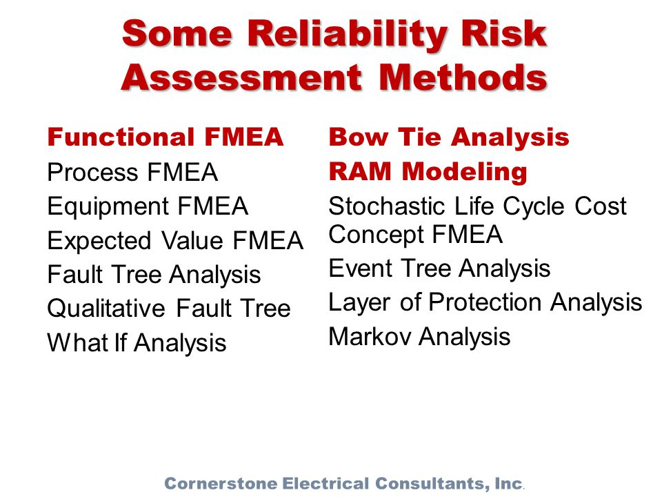 Some Reliability Risk Assessment Methods