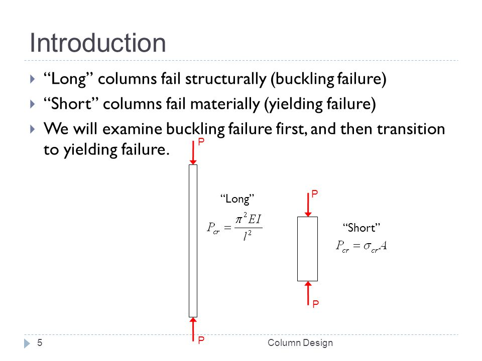 Introduction Long columns fail structurally (buckling failure)