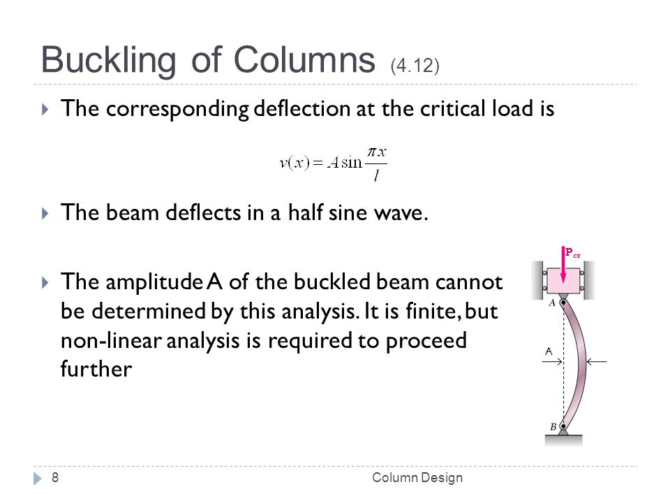 Buckling of Columns (4.12) The corresponding deflection at the critical load is. The beam deflects in a half sine wave.