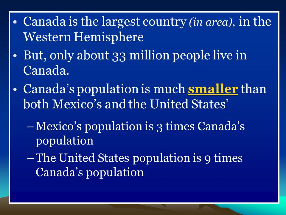 Canada is the largest country (in area), in the Western Hemisphere