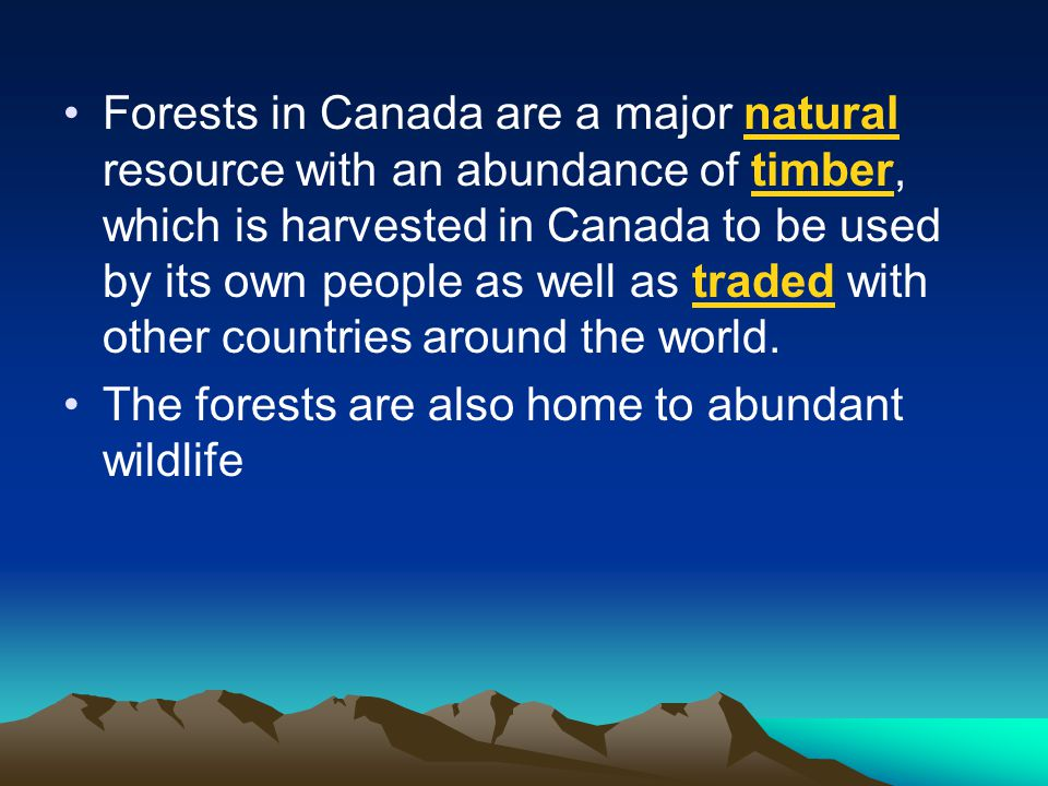 Forests in Canada are a major natural resource with an abundance of timber, which is harvested in Canada to be used by its own people as well as traded with other countries around the world.