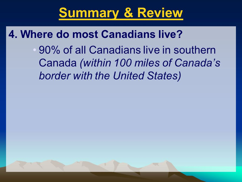 Summary & Review 4. Where do most Canadians live